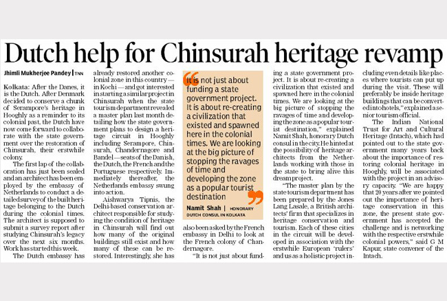 Dutch help for Chinsurah heritage revamp